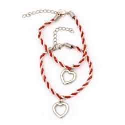 Гривна мартеница шнур висулка сърце за двама -6 броя