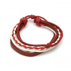 Βραχιόλι-μαρτάκι, δερμάτινο φυσικό, λευκό και κόκκινο - 12 τεμάχια