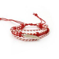 Βραχιόλι-μαρτάκι, δερματίνη και βαμβακερό κορδόνι λευκό και κόκκινο - 6 τεμάχια
