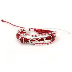 Гривна мартеница кожа естествена и шнур памучен червен 6 броя