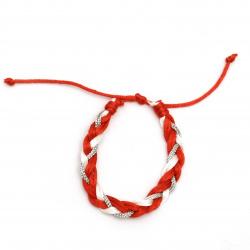 Brățară martisor cordon de mătase lame tricotat 10 bucăți