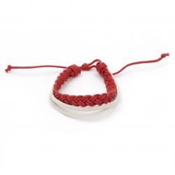 Гривна мартеница кожа естествена и шнур памучен червен -12 броя