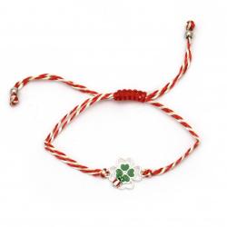 Brățară șnur de mătase martisor cu element de metal trifoi cu gargarita și cristal -12 bucăți