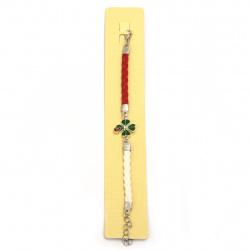 Brățară martenitsa din piele trifoi artificial cu buburuză metal și cristal -12 bucăți