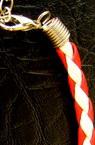 Brățară Martisor piele artificială rotundă 4 mm alb și roșu 16 cm