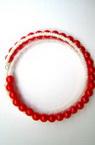 Гривна мъниста 3реда червени перли и мъниста тел -мин.заявка 12 броя