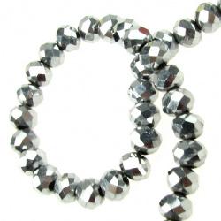 Наниз мъниста кристал 6x4 мм дупка 1 мм галванизиран сребро ~100 броя