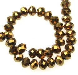 Χάντρα πολύπλευρη 8x6 mm τρύπα 1 mm καφέ/χρυσό ~ 72 τεμάχια