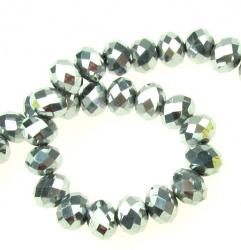 Наниз мъниста кристал 8x6 мм дупка 1 мм галванизиран сребро ~72 броя
