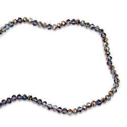 Наниз мъниста кристал 6x4 мм дупка 1 мм галванизиран на половина злато/лилав светло ~100 броя