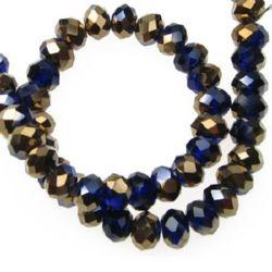 Șirag de mărgele cristal 8x6mm gaură 1mm galvanizat culoare pe  jumătate cupru / albastru închis ~ 72 bucăți
