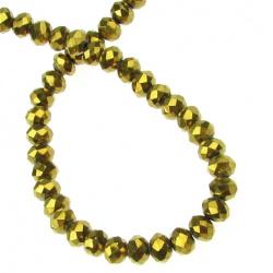 Наниз мъниста кристал 4x3 мм дупка 1 мм галванизиран златна сянка ~100 броя