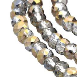 Наниз мъниста кристал 4x3 мм дупка 1 мм ДЪГА галванизиран наполовина ~150 броя