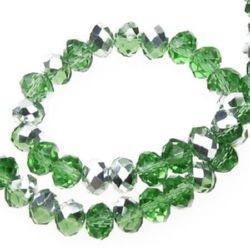 Наниз мъниста кристал 6x4 мм дупка 1 мм галванизиран на половина зелен ~72 броя