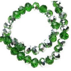 Наниз мъниста кристал 8x6 мм дупка 1 мм галванизиран на половина зелен ~72 броя