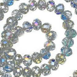 Наниз мъниста кристал 8x6 мм дупка 1 мм галванизиран на половина ДЪГА прозрачен сив перлен ~72 броя