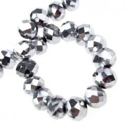 Наниз мъниста кристал 10x7 мм дупка 1 мм галванизиран сребро ~72 броя