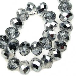 Наниз мъниста кристал 12x8 мм дупка 1 мм галванизиран на половина сив ~72 броя