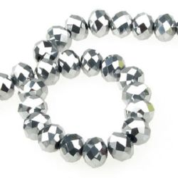 Наниз мъниста кристал 12x8 мм дупка 1 мм галванизиран сребро ~72 броя