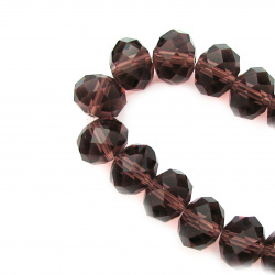 Glamorous crystal  faceted beads strand for party decoratons and DIY home art projects 14x10 mm hole 1 mm transparent garnet color ~ 60 pieces