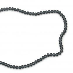 Наниз мъниста кристал 6x4 мм дупка 1 мм син тъмно ~100 броя