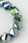 Наниз мъниста кристал 10 мм дупка 1 мм галванизиран зелен металик ~72 броя