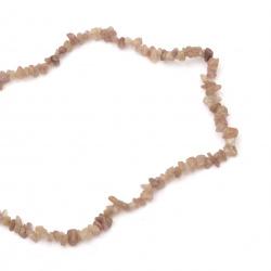 Наниз естествени камъни чипс 5-7 мм ~90 см КВАРЦ ягодов