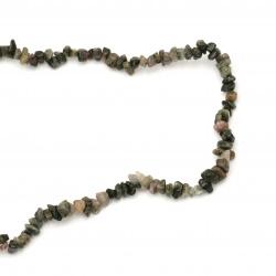 Наниз естествени камъни чипс 8-12 мм ~90 см ТУРМАЛИН