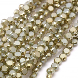 Мъниста кристал 4x3 мм дупка 1 мм Olive ~99 броя