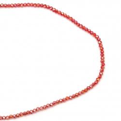 Наниз мъниста кристал 4x3 мм дупка 1 мм ДЪГА прозрачен червен ~150 броя