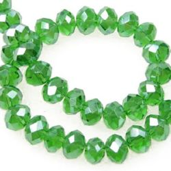 Наниз мъниста кристал 8x6 мм дупка 1 мм ДЪГА прозрачен зелен морско ~72 броя