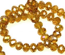 Наниз мъниста кристал 8x6 мм дупка 1 мм ДЪГА прозрачен златна сянка ~72 броя