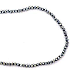 Наниз мъниста кристал 4x3 мм дупка 1 мм галванизиран син ~150 броя