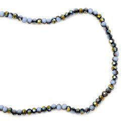 Наниз мъниста кристал 4x3 мм дупка 1 мм галванизиран наполовина син светло ~150 броя