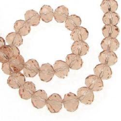 Наниз мъниста кристал 8x6 мм дупка 1 мм прозрачен розов ~72 броя