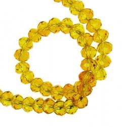 Наниз мъниста кристал 8x6 мм дупка 1 мм прозрачен златно 2 ~72 броя