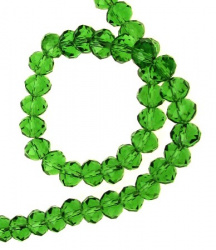 Colorful crystal beads strand for jewelry making, DIY fringes of beads 8x6 mm hole 1 mm transparent green ~ 72 pieces