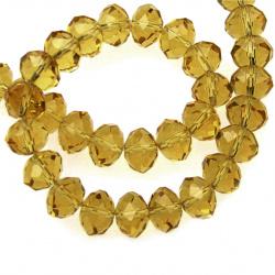 Наниз мъниста кристал 10x7 мм дупка 1 мм прозрачен злато светло ~72 броя