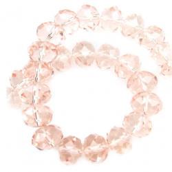 Наниз мъниста кристал 12x8 мм дупка 1 мм прозрачен розов ~72 броя