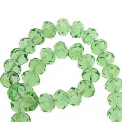 Наниз мъниста кристал 14x10 мм дупка 1 мм прозрачен зелен ~60 броя