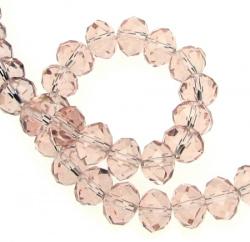 Наниз мъниста кристал 10x7 мм дупка 1 мм прозрачен розов ~72 броя