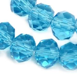 Faceted transparent crystal beads strand for jewelry making 8x6 mm hole 1 mm color cyan ~ 72 pieces