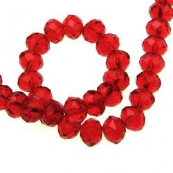 Наниз мъниста кристал 10x7 мм дупка 1 мм прозрачен червен ~72 броя