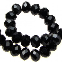 Spectacular crystal beads, faceted for DIY necklaces, bracelets and garment accessories 10x7 mm hole 1 mm black ~ 72 pieces