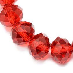 Наниз мъниста кристал 12x8 мм дупка 1 мм прозрачен червен ~72 броя