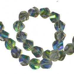 Transparent crystal beads string for jewelry making, DIY fringes of beads 10mm, hole 1mm electroplated  rainbow - 72 pieces