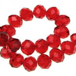 Наниз мъниста кристал 14x10 мм дупка 1 мм прозрачен червен ~60 броя