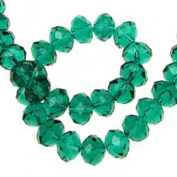 Наниз мъниста кристал 10x7 мм дупка 1 мм прозрачен TEAL ~72 броя