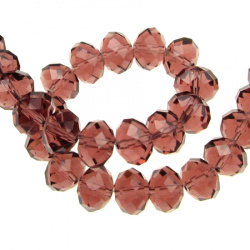 Faceted crystal glass beads strand for jewelry making, DIY fringes of beads 12x8 mm hole 1 mm transparent garnet color ~ 72 pieces