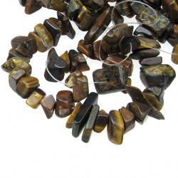 Наниз естествени камъни чипс 8-12 мм ~90 см ТИГРОВО ОКО